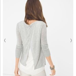XS Gorgeous WHBM hi lo sweater w sheer back detail